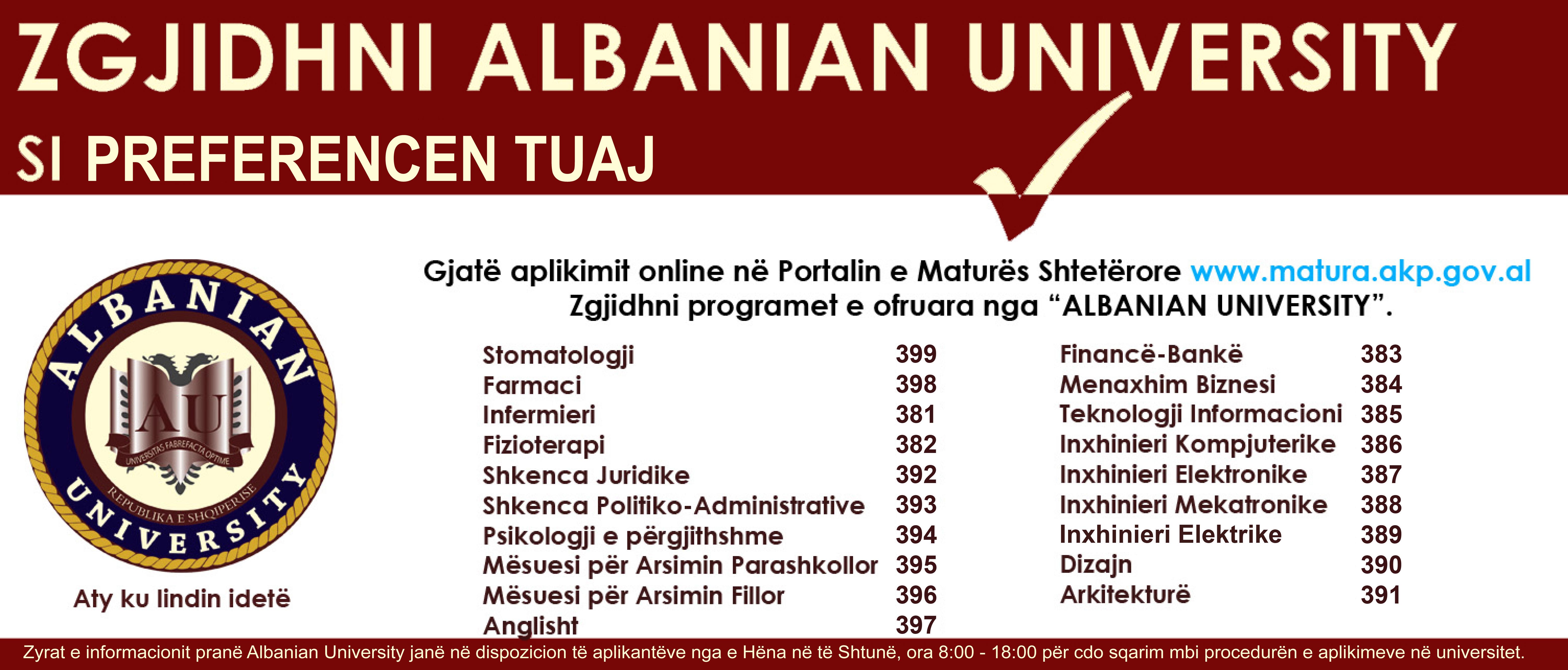 Zgjidh Albanian University per Vitin 2017-2018